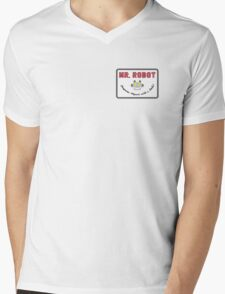 Mr. Robot Patch Mens V-Neck T-Shirt