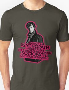 Sherlock - Sociopath not Psychopath Unisex T-Shirt