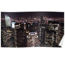 New York Night Skyline Poster