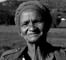Namaqualand local Khoi-San woman in B&W by fourthangel