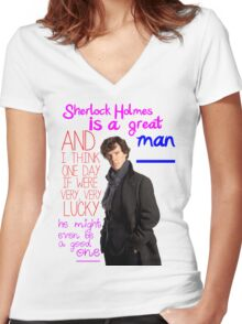 BBC Sherlock: Lestrade Quote. Women's Fitted V-Neck T-Shirt