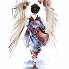 Geisha Japanese woman in kimono original Japan painting art by Mariusz Szmerdt