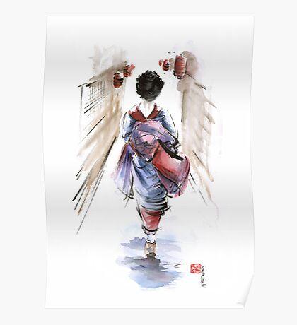 Geisha Japanese woman in kimono original Japan painting art Poster
