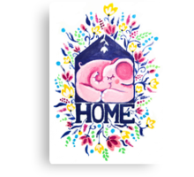 Home - Rondy the Elephant sleeping in his little house Canvas Print