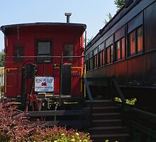 Red Caboose and Trout Car by PineSinger