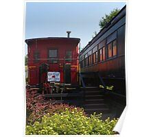 Red Caboose and Trout Car Poster