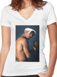 2PAC Women's Fitted V-Neck T-Shirt