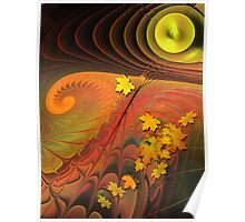Autumn Sun, abstract fractal mixed media art Poster