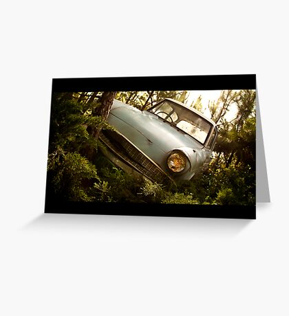 """The """"Flying"""" Ford Anglia Greeting Card"""