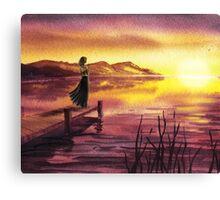 Girl Watching Sunset At The Lake Canvas Print