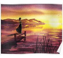Girl Watching Sunset At The Lake Poster