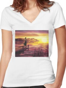 Girl Watching Sunset At The Lake Women's Fitted V-Neck T-Shirt