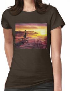 Girl Watching Sunset At The Lake Womens Fitted T-Shirt