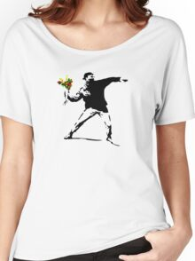 Banksy Flower Bomb Graffiti Street Art Mens Women's Relaxed Fit T-Shirt