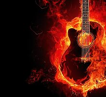 Guitar on fire by franceslewis