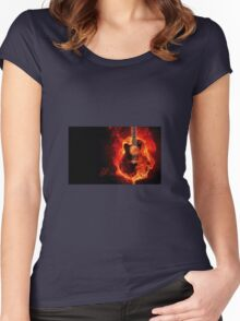 Guitar on fire Women's Fitted Scoop T-Shirt