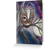 shy night owl painting. Greeting Card