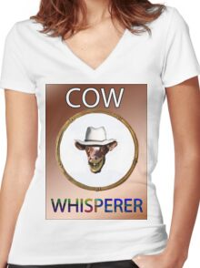 COW WHISPERER Women's Fitted V-Neck T-Shirt