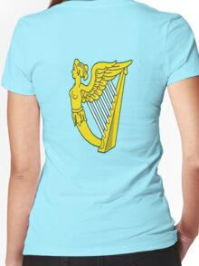 IRISH HARP IRELAND GREEN GOLD Women's Fitted V-Neck T-Shirt