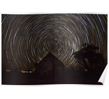 Startrail - Church - Lightning Ridge - NSW Poster