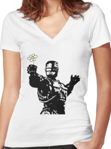 "Robocop ""likes flowers"" Women's Fitted V-Neck T-Shirt"