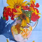 Sunflowers and Nasturtiums by Paula Oakley