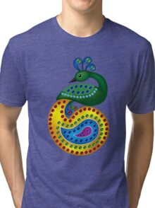 Beautiful and Colorful Peacock Tri-blend T-Shirt