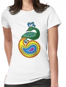 Beautiful and Colorful Peacock Womens Fitted T-Shirt
