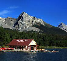 Maligne Lake Boathouse 2 by Charles Kosina