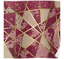 Rustic Chic Burgundy Red Glitter & Gold Triangles Poster