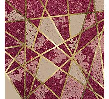 Rustic Chic Burgundy Red Glitter & Gold Triangles Photographic Print