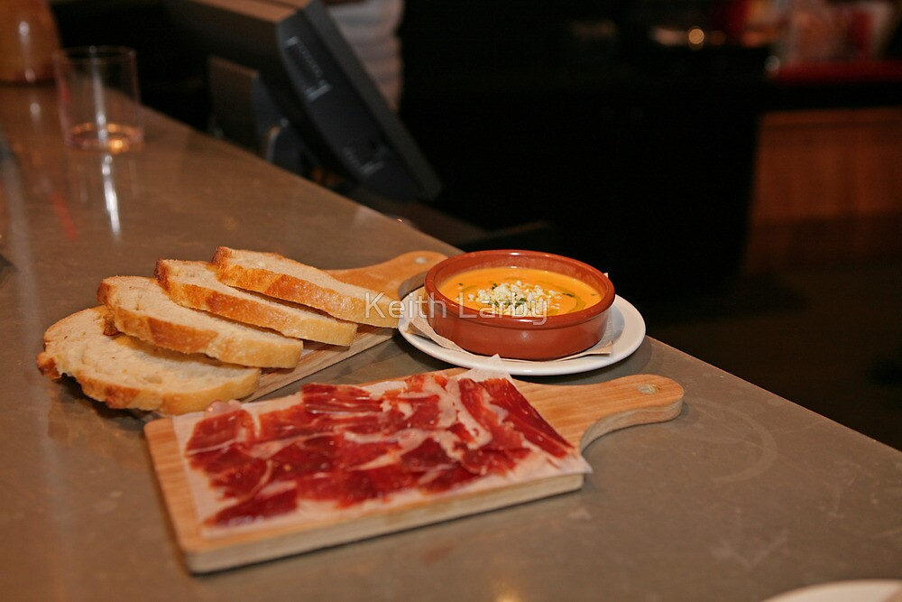 Cured Ham,bread and a Tomato dip at Tapas Revolution by Keith Larby