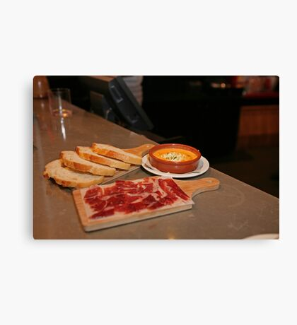 Cured Ham,bread and a Tomato dip at Tapas Revolution Canvas Print