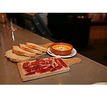 Cured Ham,bread and a Tomato dip at Tapas Revolution Photographic Print