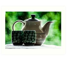 Sip a cup of green tea with me...Got Featured Work:) Art Print
