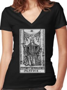 Justice Tarot Card - Major Arcana - Fortune Telling - Occult Women's Fitted V-Neck T-Shirt