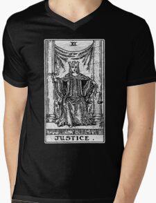 Justice Tarot Card - Major Arcana - Fortune Telling - Occult Mens V-Neck T-Shirt