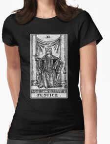 Justice Tarot Card - Major Arcana - Fortune Telling - Occult Womens Fitted T-Shirt