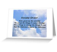 Blue Sky White Clouds Serenity Prayer Greeting Card