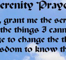 Blue Sky White Clouds Serenity Prayer Sticker