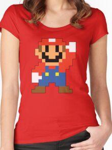 Super Mario Maker - Modern Mario Costume Sprite Women's Fitted Scoop T-Shirt