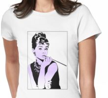 Audrey Hepburn Purple Womens Fitted T-Shirt