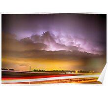 25 to 34 Intra-Cloud Lightning Golden Light Car Trails Poster