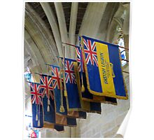 Colourful Flags, Exeter Cathedral, Devon Poster