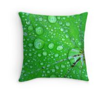 Droplets on a Leaf Throw Pillow