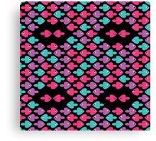 colorful cartoon fishes pattern as heart for holiday Canvas Print
