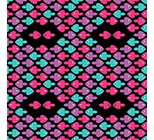 colorful cartoon fishes pattern as heart for holiday Photographic Print