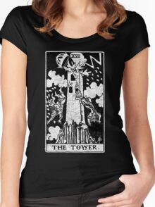 The Tower Tarot Card - Major Arcana - fortune telling - occult Women's Fitted Scoop T-Shirt