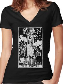 The Tower Tarot Card - Major Arcana - fortune telling - occult Women's Fitted V-Neck T-Shirt