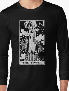 The Tower Tarot Card - Major Arcana - fortune telling - occult Long Sleeve T-Shirt
